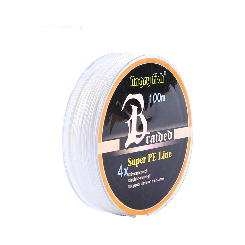 ANGRYFISH Diominate PE Line 4 Strands Braided 100m/109yds Super Strong Fishing Line 10LB-80LB White 5.0#: 0.37mm/50LB