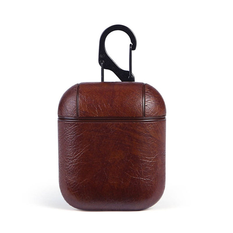 Leather Airpods Protective Case - Brown