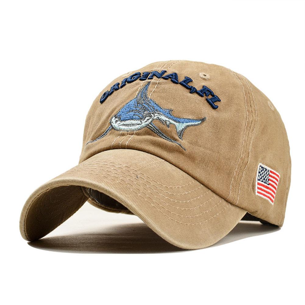 Unisex Embroidered Lettering Shark Pattern Baseball Cap Fashion Denim Sun Shade Hat Khaki_adjustable