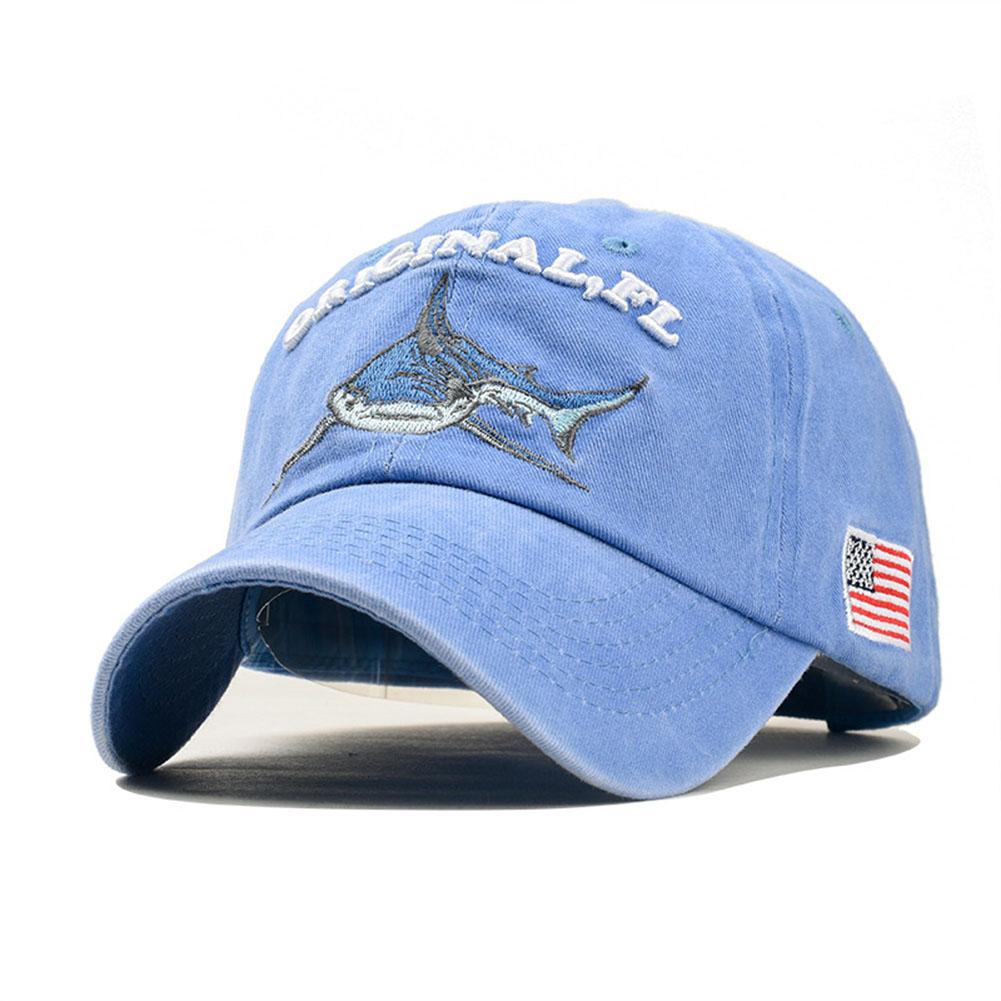 Unisex Embroidered Lettering Shark Pattern Baseball Cap Fashion Denim Sun Shade Hat Light blue_adjustable