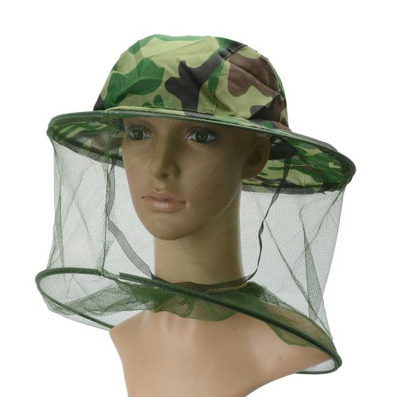 Adult Beekeeping Hat Outdoor Camouflage Bush Cap Anti-mosquito Shawl Fishing Sunscreen Net Cap