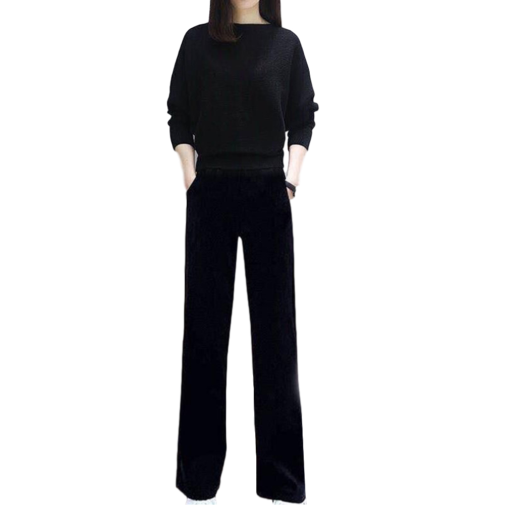 Women's Suit Autumn Solid Color Knitted Casual Loose Large Top + Pants black_L