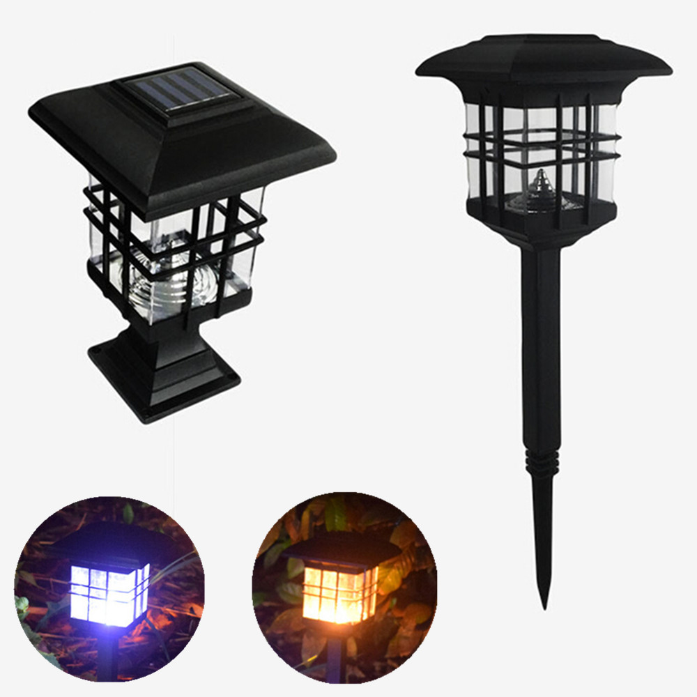 Waterproof Dual Use Solar House Shape Solar Column Lamp for Outdoor Lighting warm light