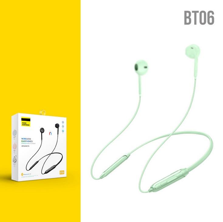 Wireless Bluetooth 5.0 Sports Headset Stereo Heavy Bass Hanging Neck Bluetooth Headset Green