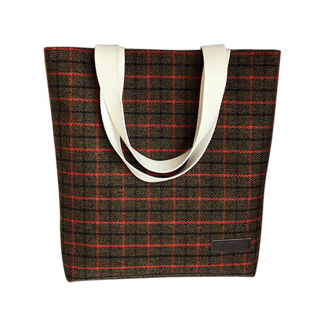 Women Simple Fashion Lattice Canvas Handbag Leisure Shoulder Crossbody Bags