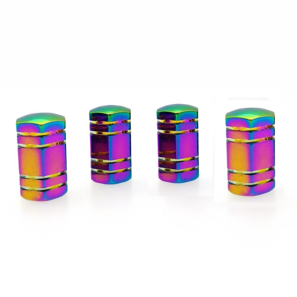 4 Pcs Colorful Hexagonal Car Tire Valve Stem Cap Cover Auto Accessories
