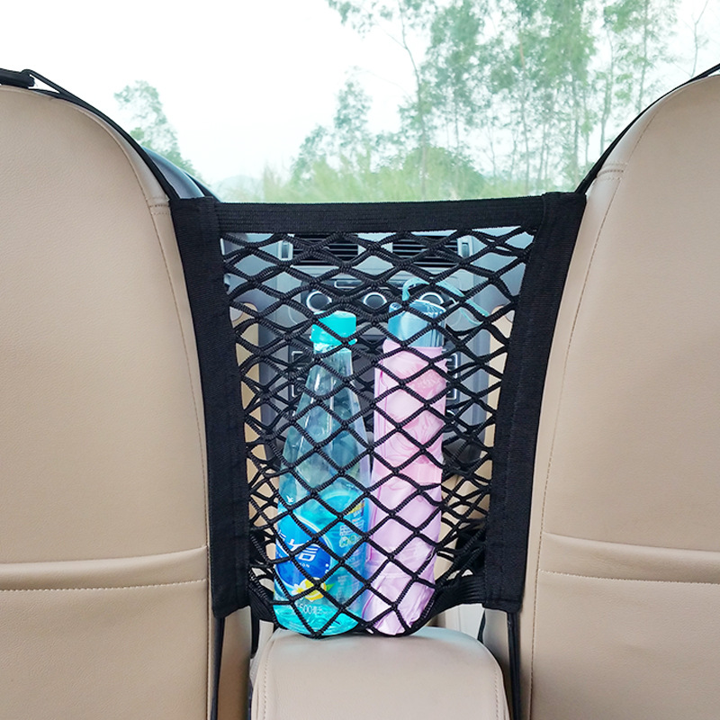 Oxford Cloth Car Rear Seat Children Protection Storage String Bag Central Armrest Net