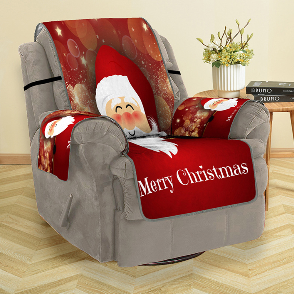 Christmas 3D Cartoon Santa Claus Digital Printing Sofa Cover Couch Protector for Living Room Home Decor single