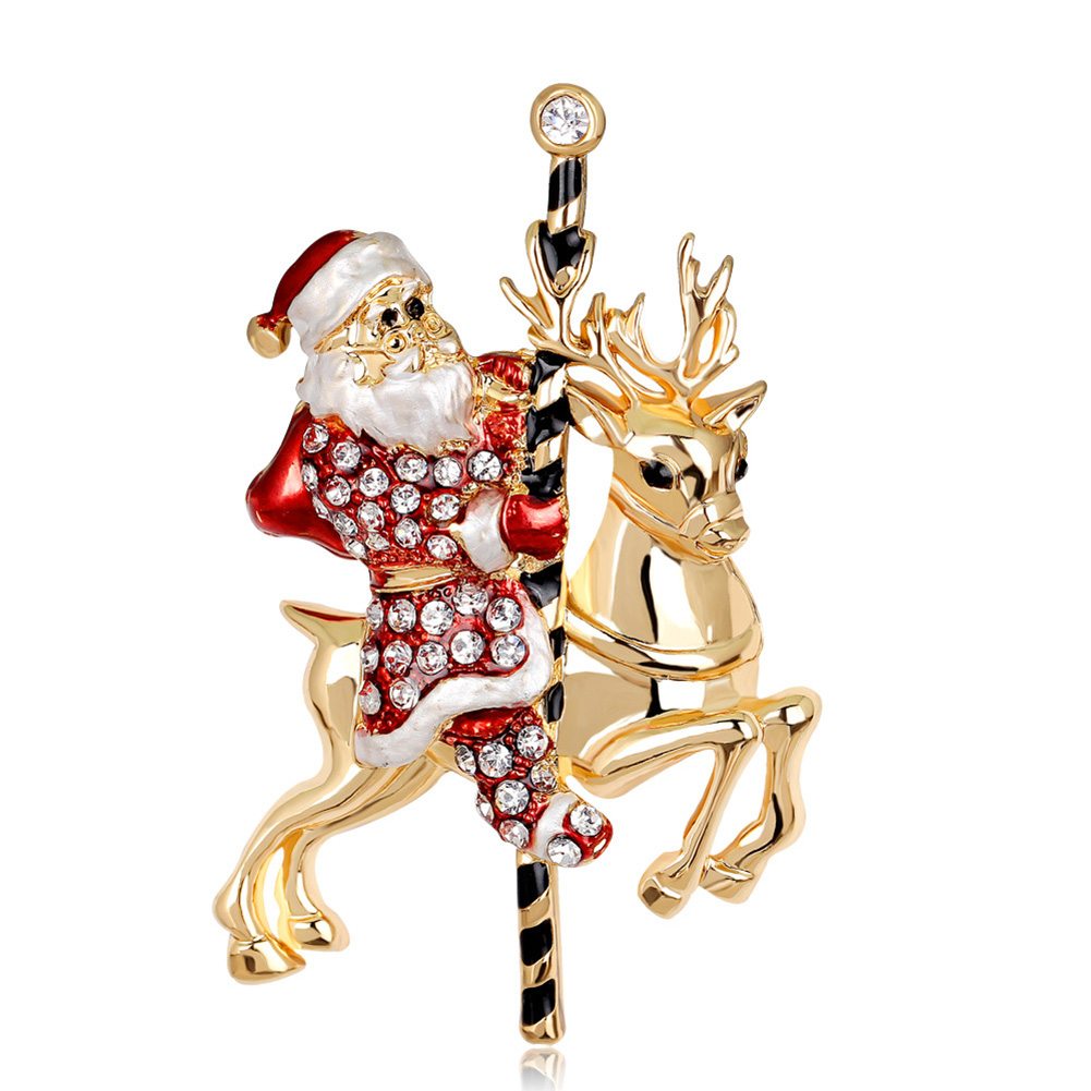 Christmas Brooches Pins Cute Santa Claus Star Bird Pin Badges Brooch for Women Jewelry Gift AL043-A