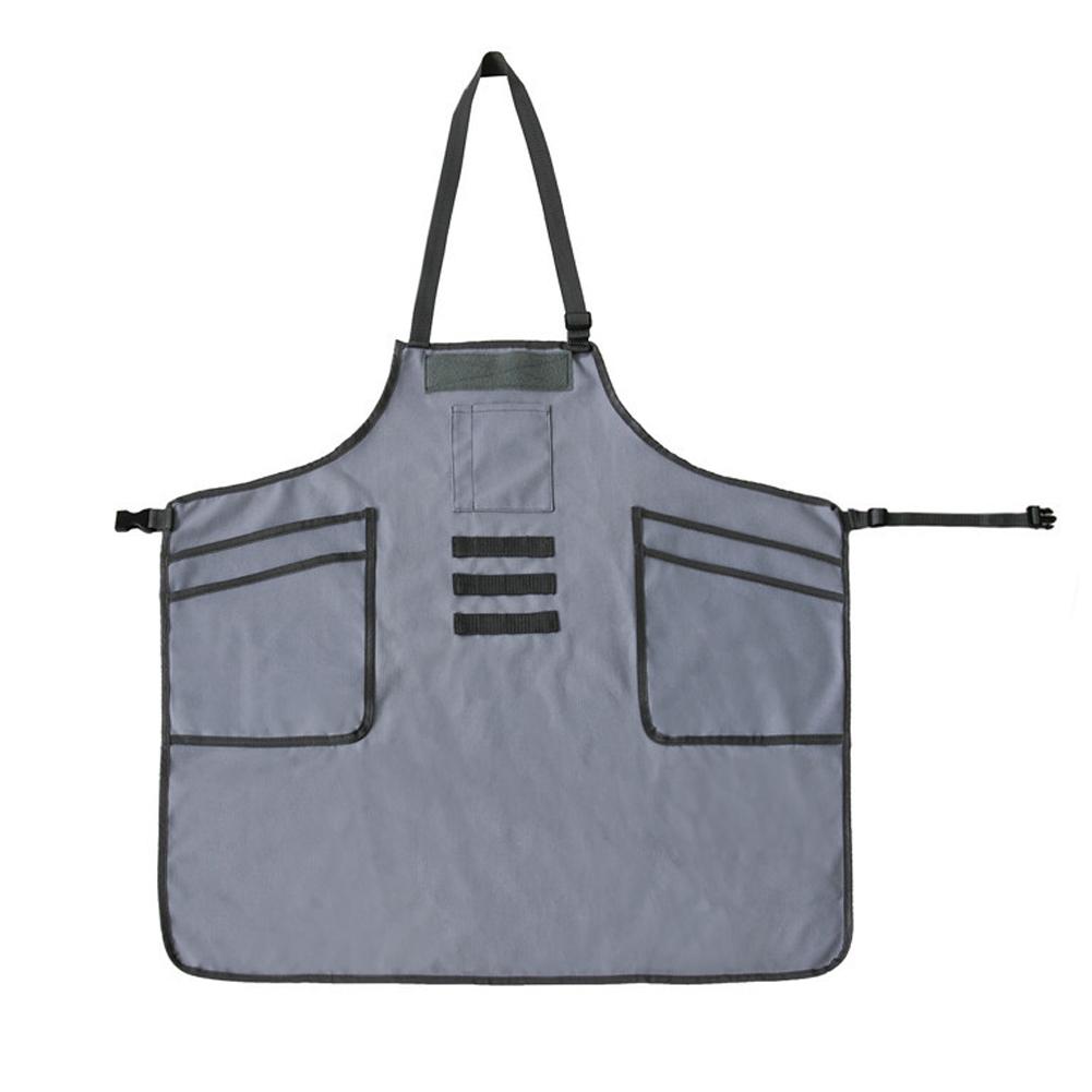 Bib Apron Baker Adjustable Barista Work Multi Pocket BBQ Casual Chef Apron gray