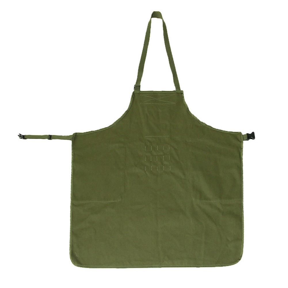 Bib Apron Baker Adjustable Barista Work Multi Pocket BBQ Casual Chef Apron ArmyGreen