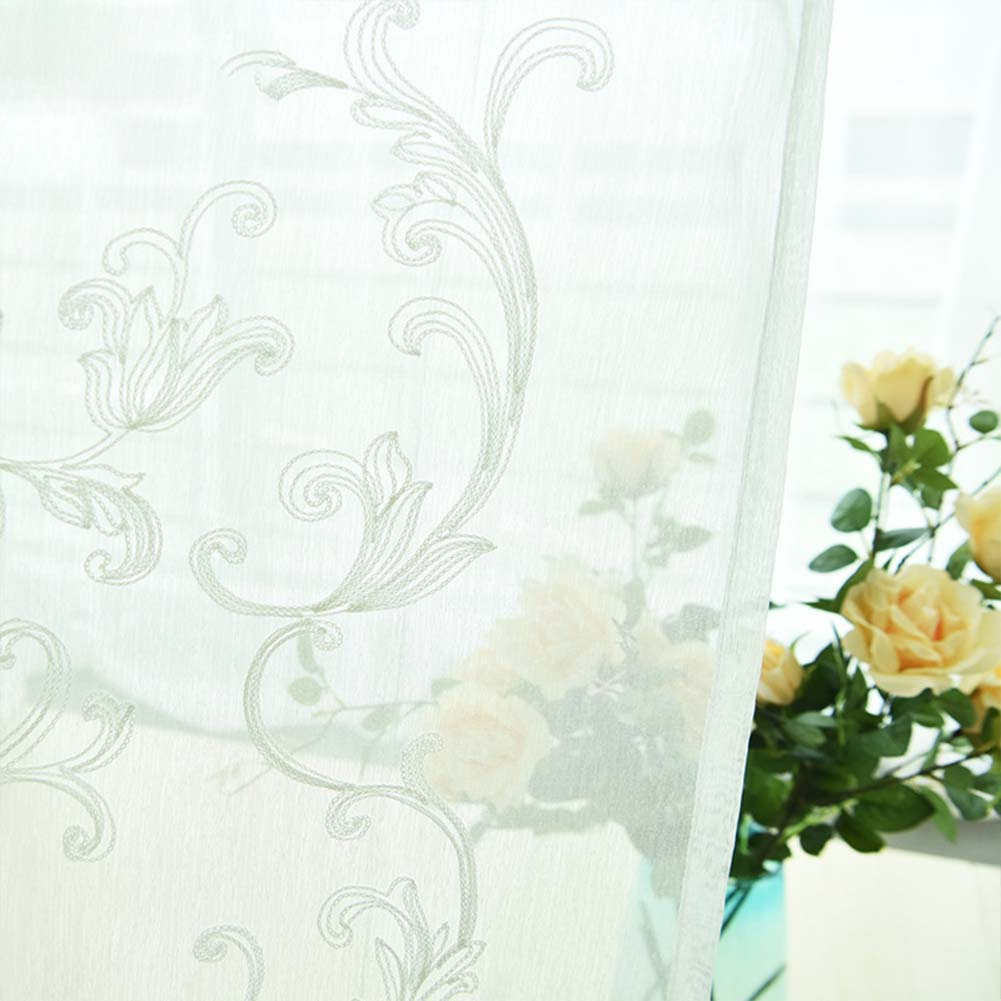 Tulle Embroidered Curtain for Kitchen Living Room Bedroom Window Treatment Panel White (hook)_1 * 2.5 meters high