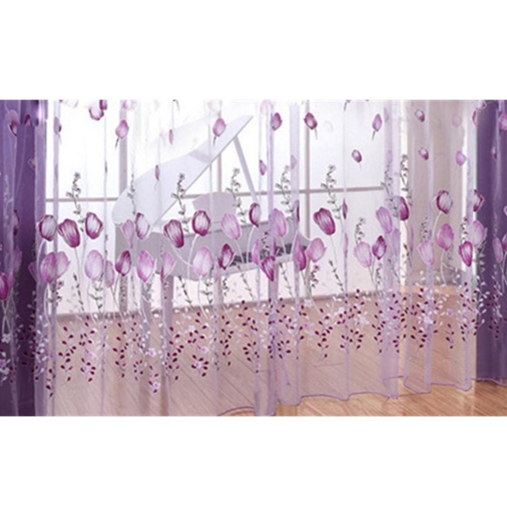 Romantic Tulips Window Voile Curtain Creative Floral Translucent Tulle Door Drape - 3 Colors for Choice purple_1x2m