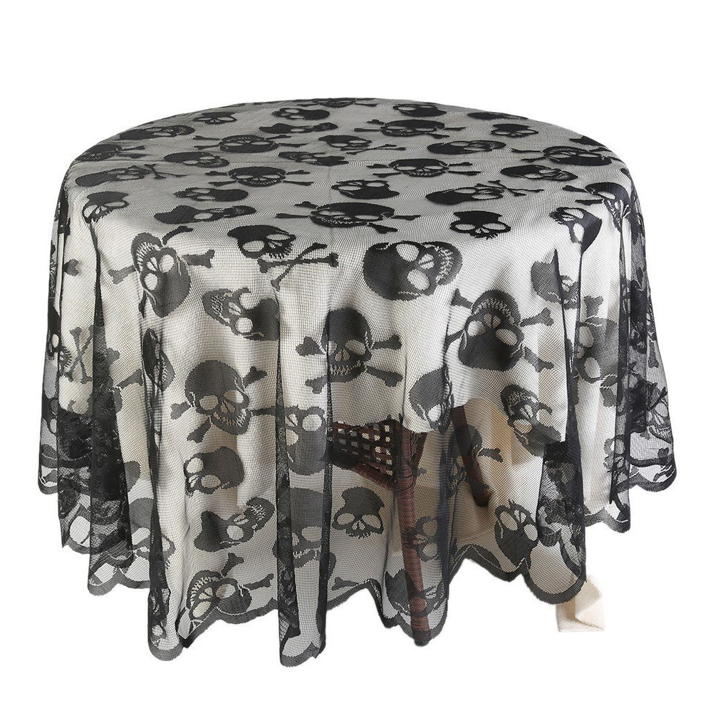 Round Shape Skull Skeleton Pattern Lace Table Cover for Halloween Party Decor black_70inch round