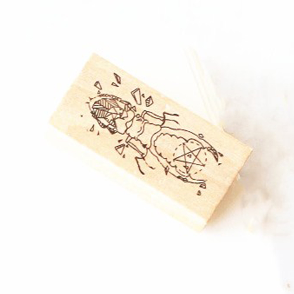Geometric Series Wooden Stamper for Scrapbooking beetle 3x6