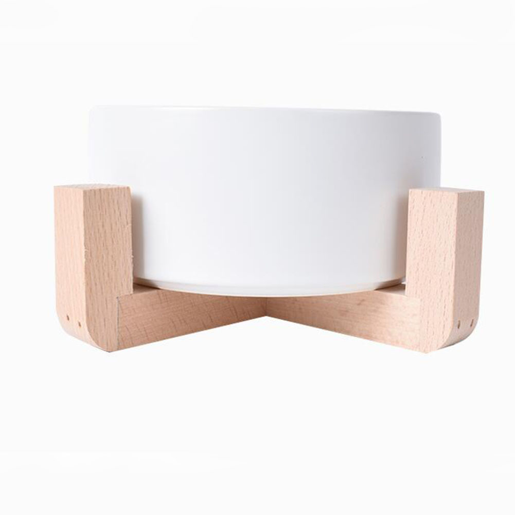 Nonslip Wooden Neck Guard Stand + Ceramic Bowl for Pet Cats Dogs Feeding white_16*9*7cm