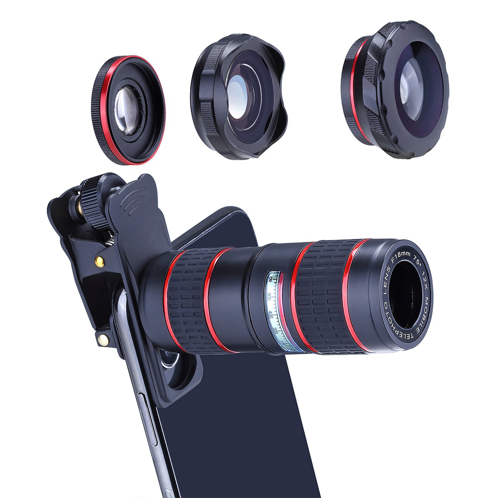 Phone Camera Zoom Lens Kit for iOS Android Smartphones, 5 in 1 HD 180° Fisheye Lens, 0.36X Wide Angle Lens, 15X Macro Lens and 12X Telephoto Lens Camera Lens for Tablet PC Five-in-one suit