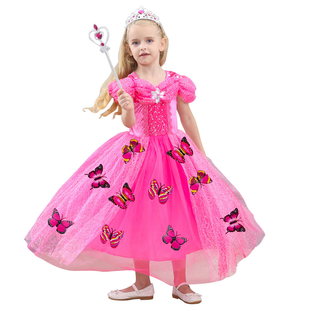 Children Girl Delicate Princess Dress Bubble Skirt Performance Dress for Halloween Rose red_130cm