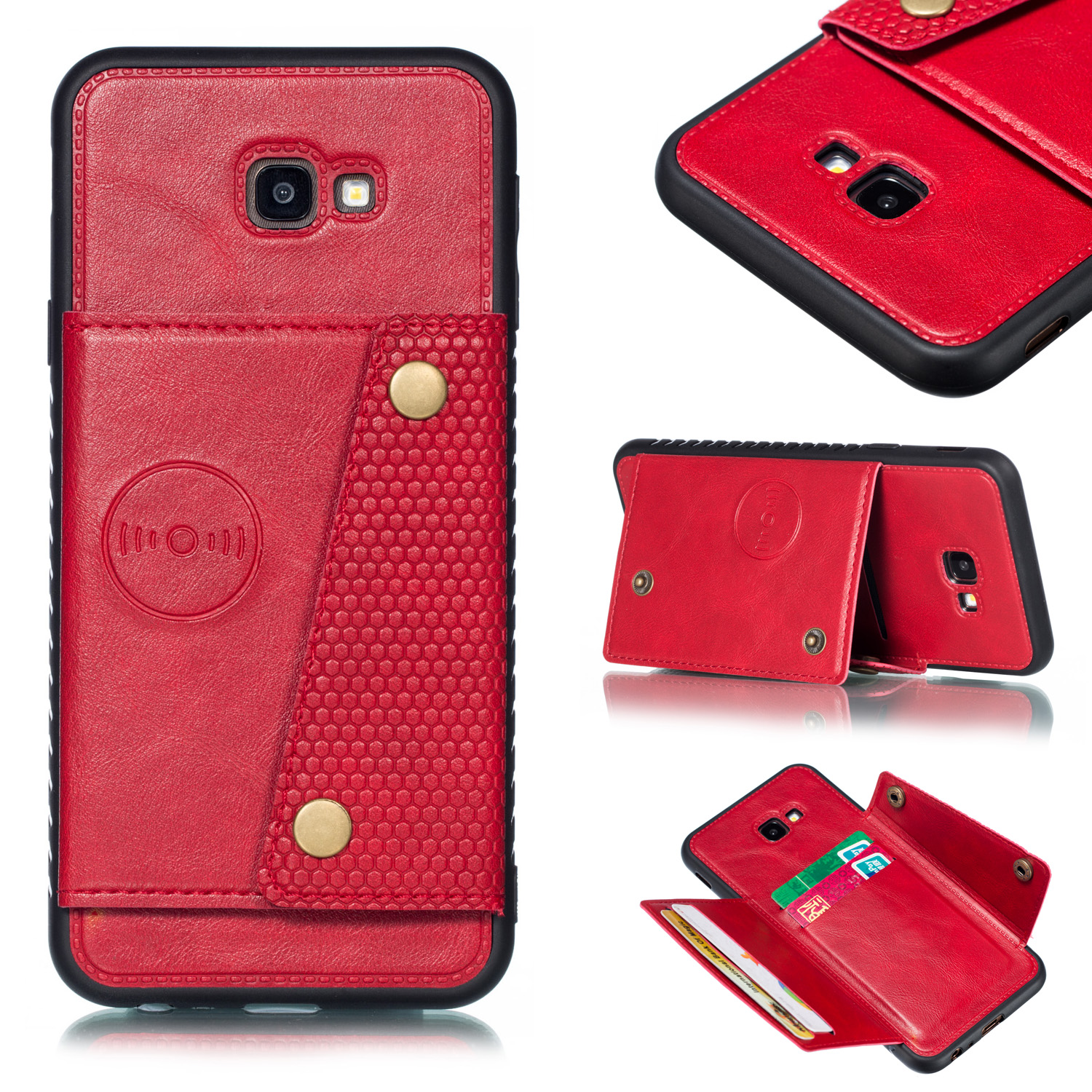 For Samsung J4 PLUS PU Protective Phone Back Case with Card Slot Bracket red