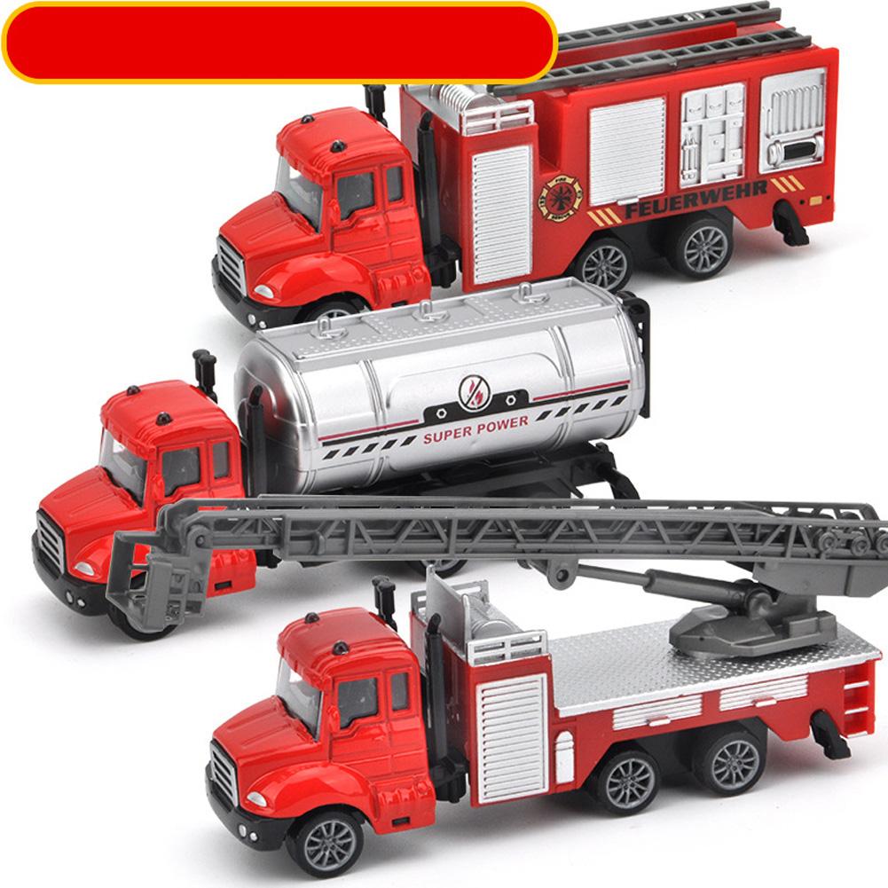 3pcs/set Simulate Sliding Alloy Car Model 1:64 Kids Toys Set Collection Fire series
