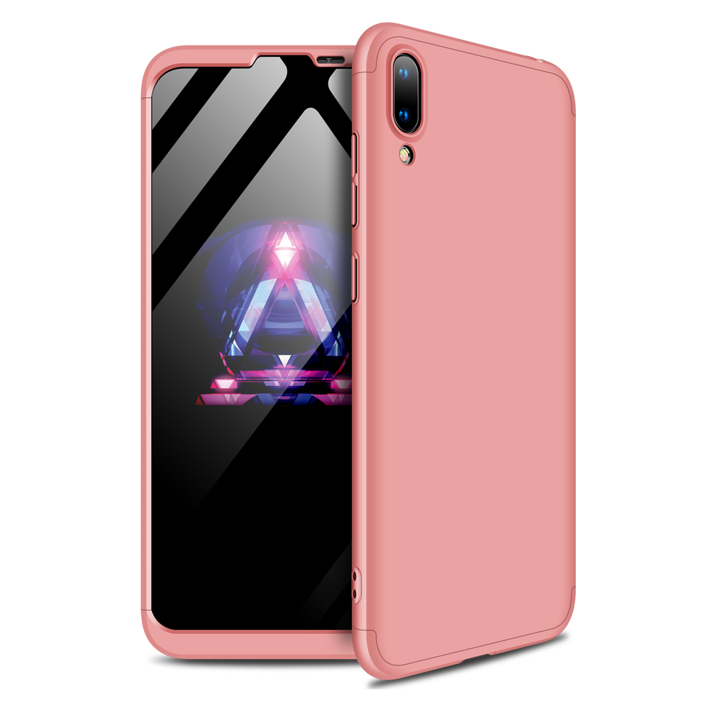 For HUAWEI Y7 pro 2019 Ultra Slim PC Back Cover Non-slip Shockproof 360 Degree Full Protective Case Rose gold