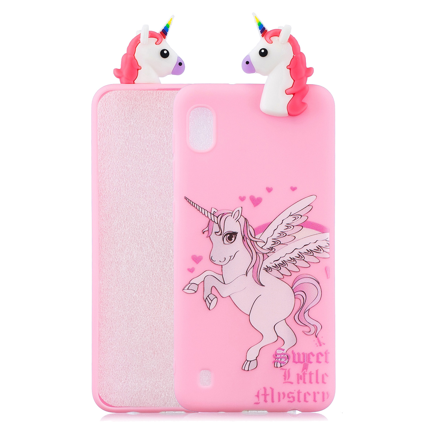 For Samsung A10 3D Cute Coloured Painted Animal TPU Anti-scratch Non-slip Protective Cover Back Case unicorn