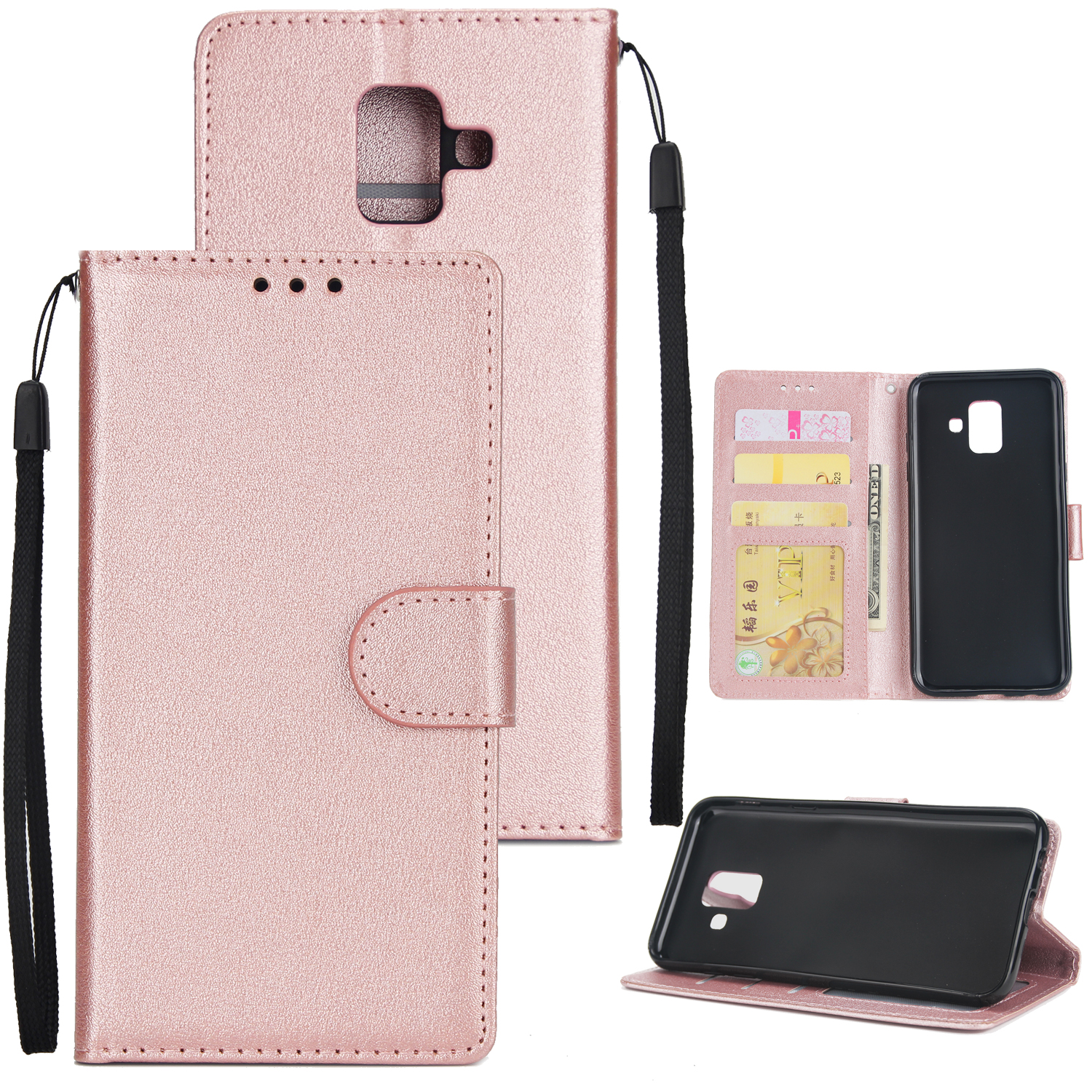 For Samsung A6 2018 Flip-type Leather Protective Phone Case with 3 Card Position Buckle Design Phone Cover  Rose gold