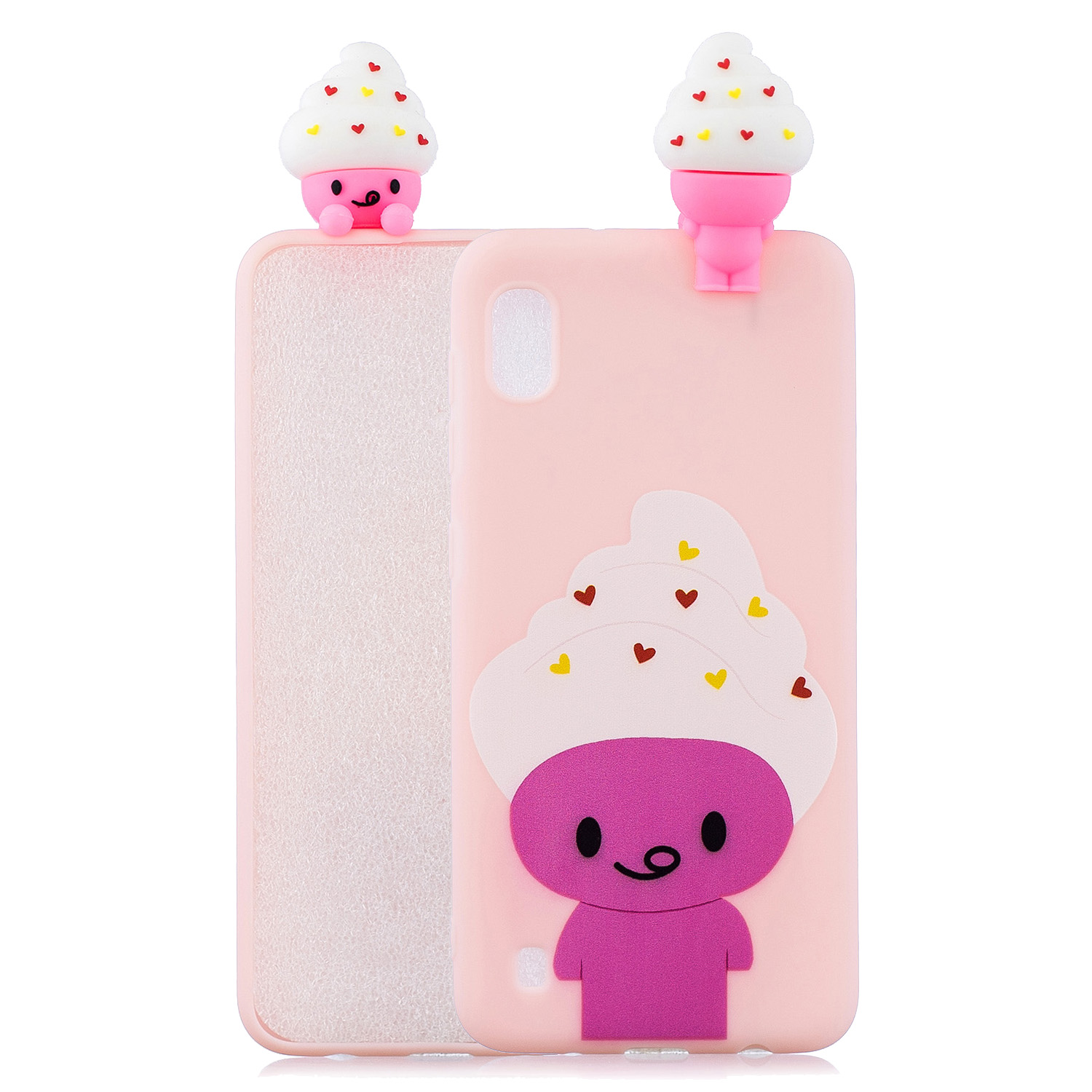 For Samsung A10 3D Cute Coloured Painted Animal TPU Anti-scratch Non-slip Protective Cover Back Case ice cream