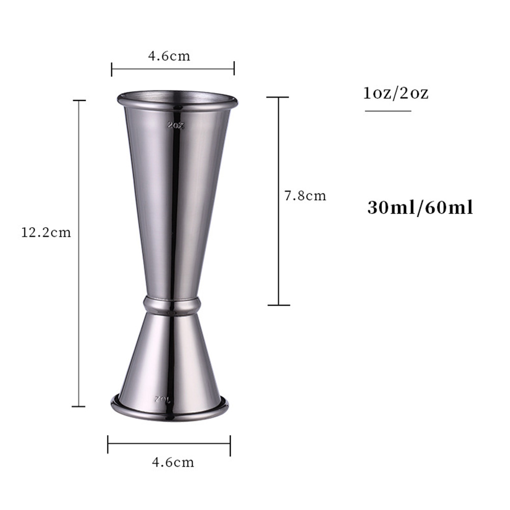 304 Stainless Steel Double Measuring Cup Curling Cup  1oz/2oz black plated