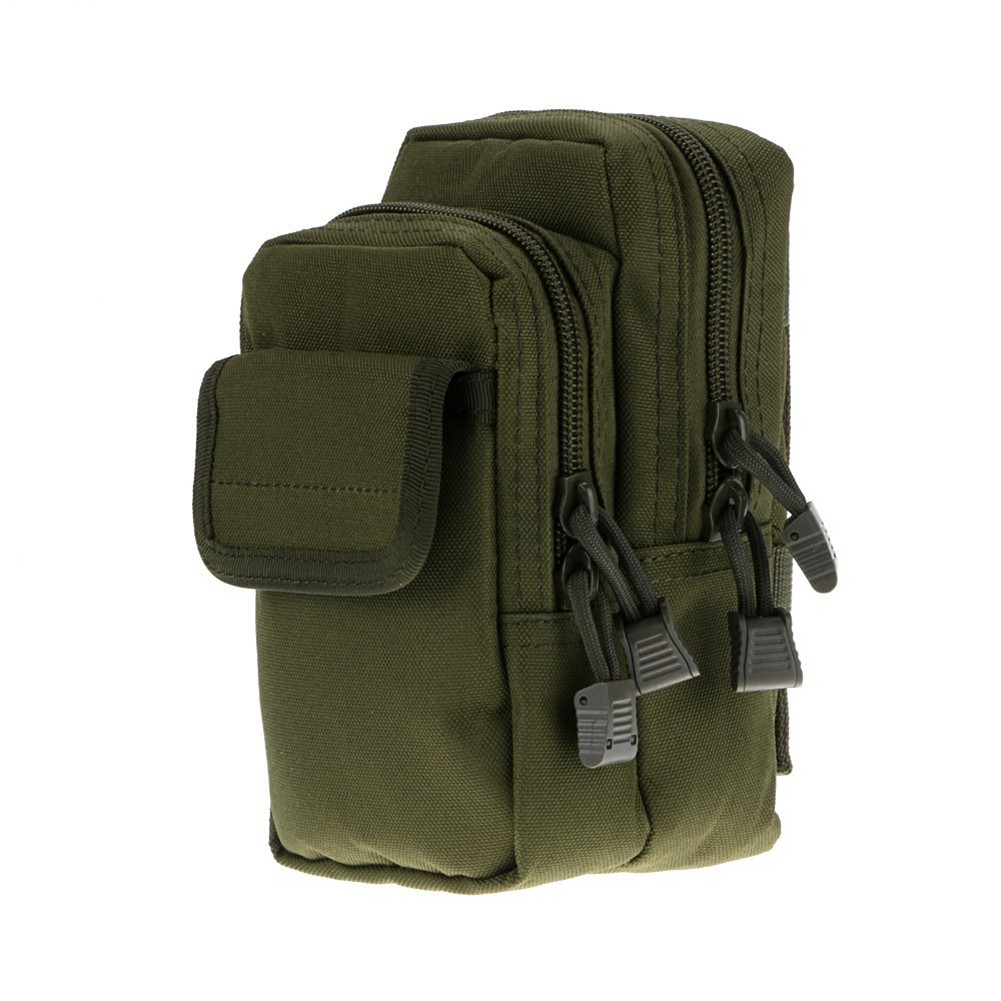 2-Layer Pouch Waist Pack Bag Fanny Pack Pocket ArmyGreen_17.5x10x8.5cm