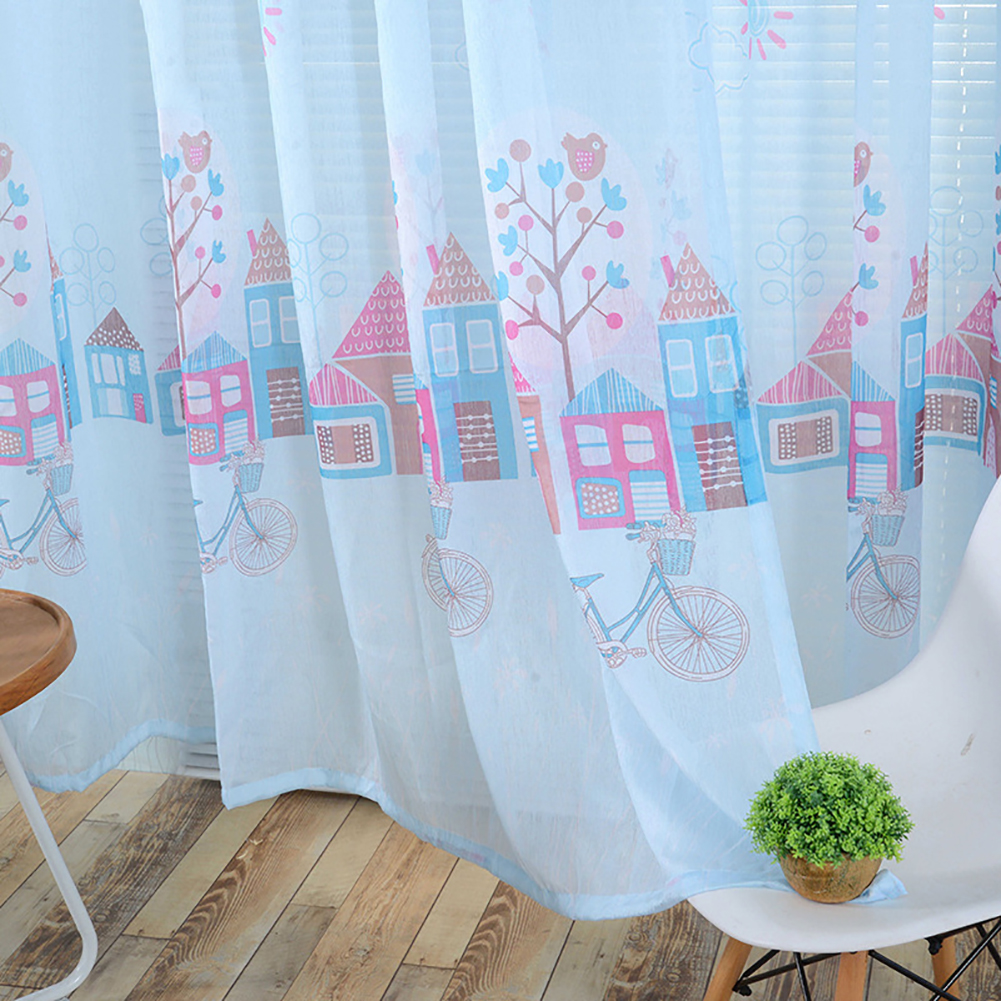 Cartoon House Printing Curtain Tulle for Living Room Bedroom Children Room Window Screening Blue christmas room paper print_1m wide x 2m high