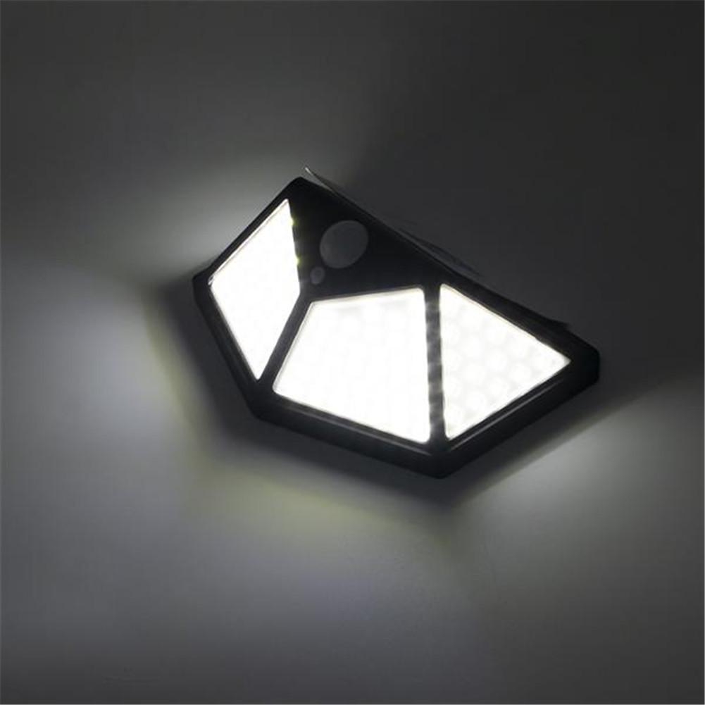 [US Direct] ZC001251 100led Solar Wall  Lights Waterproof Motion Sensor Light With Solar Panel black