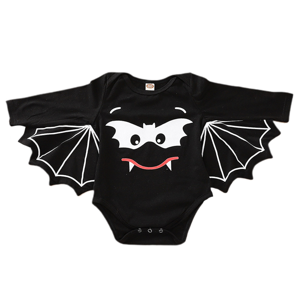 Halloween Baby Boy and Girl Bat Printed Wing Sleeves Jumpsuits black_86cm