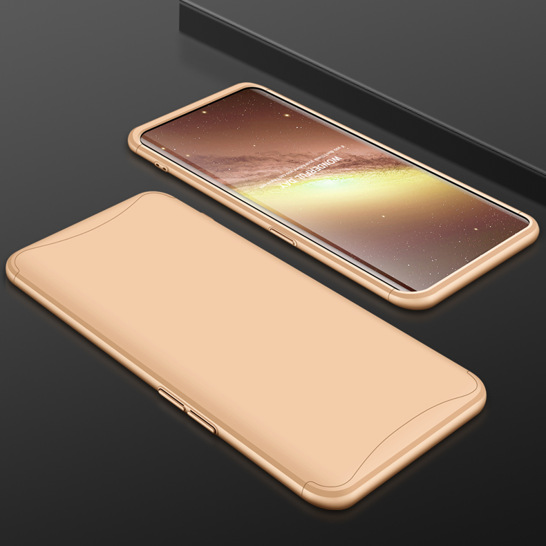 For OPPO Find X Ultra Slim PC Back Cover Non-slip Shockproof 360 Degree Full Protective Case Gold