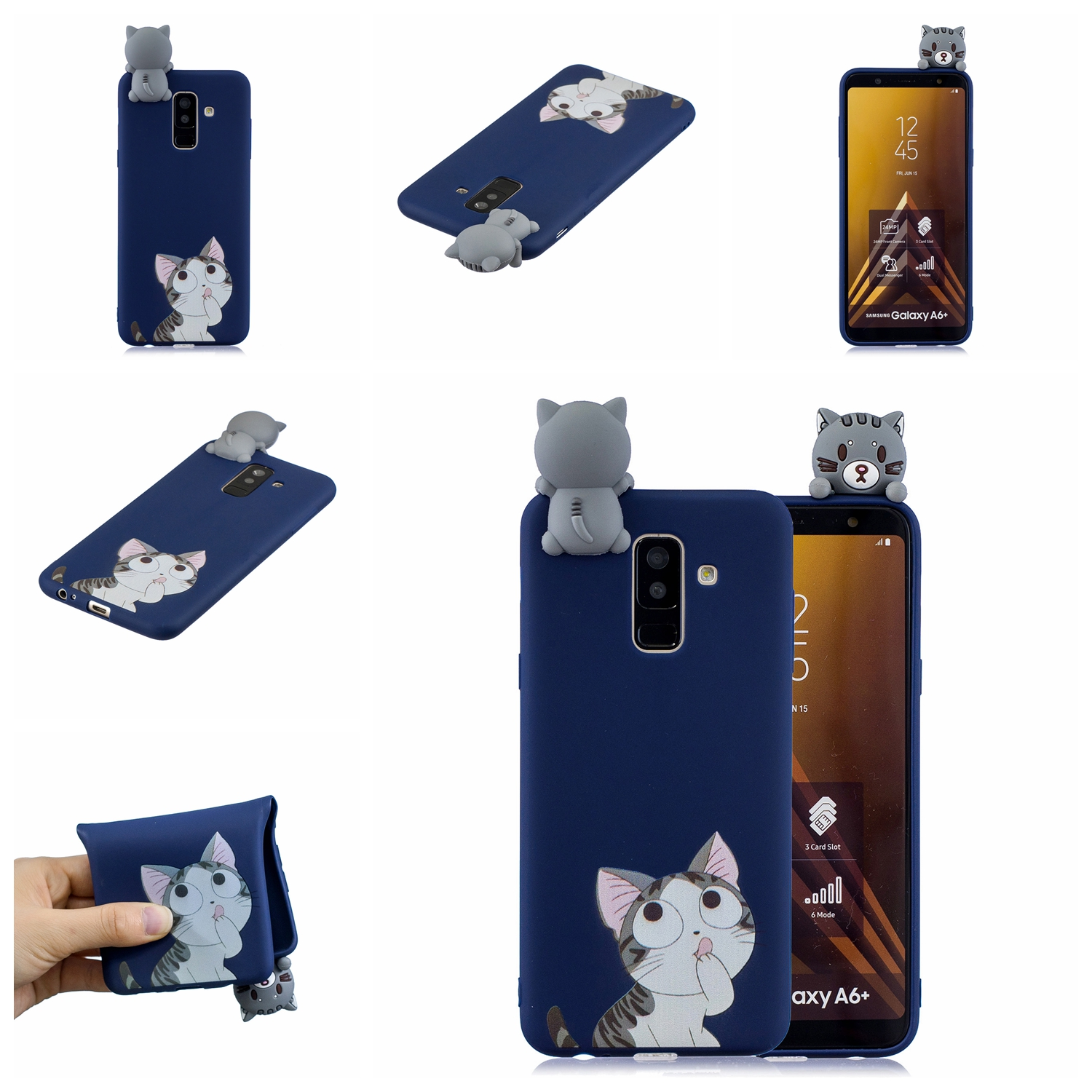 For Samsung A6 plus 2018 3D Cartoon Lovely Coloured Painted Soft TPU Back Cover Non-slip Shockproof Full Protective Case big face cat