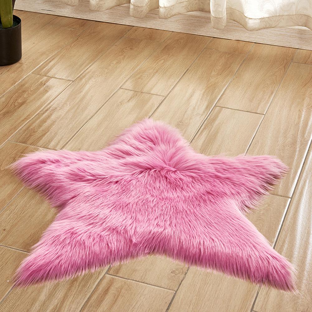 Fluffy Floor Mat Door Mat Non-slip Living Room Carpet Foot Pad Pentagram Rug Home Decor Rose Red Pentagram_60 diameter