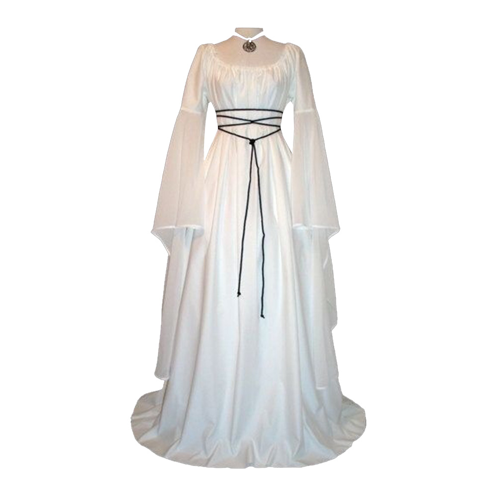 Women Long Sleeve Round Collar Belt Irregular Ladies Dress Halloween Costume white_XL