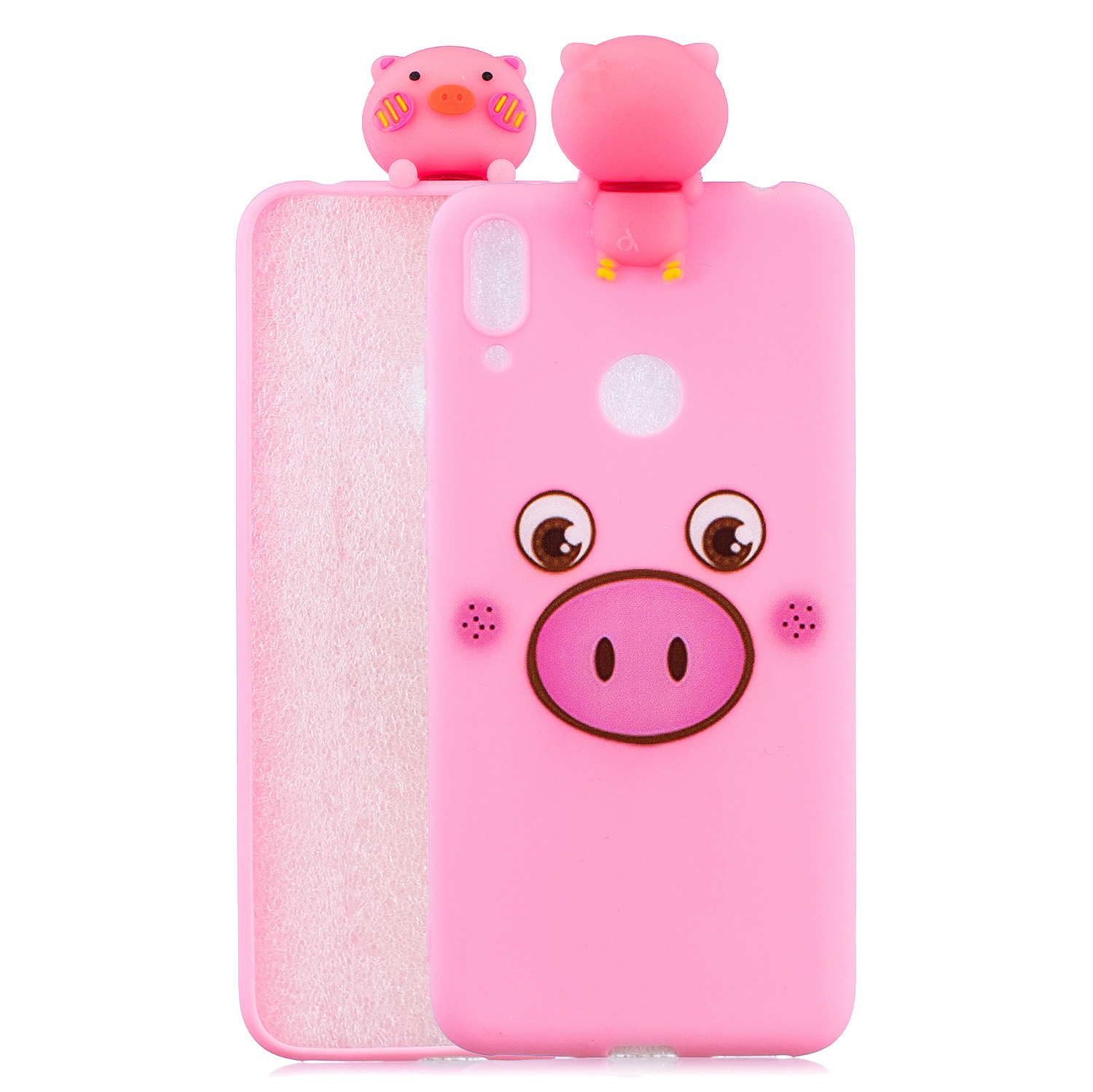 For Huawei Y6 2019 3D Cartoon Lovely Coloured Painted Soft TPU Back Cover Non-slip Shockproof Full Protective Case Small pink pig