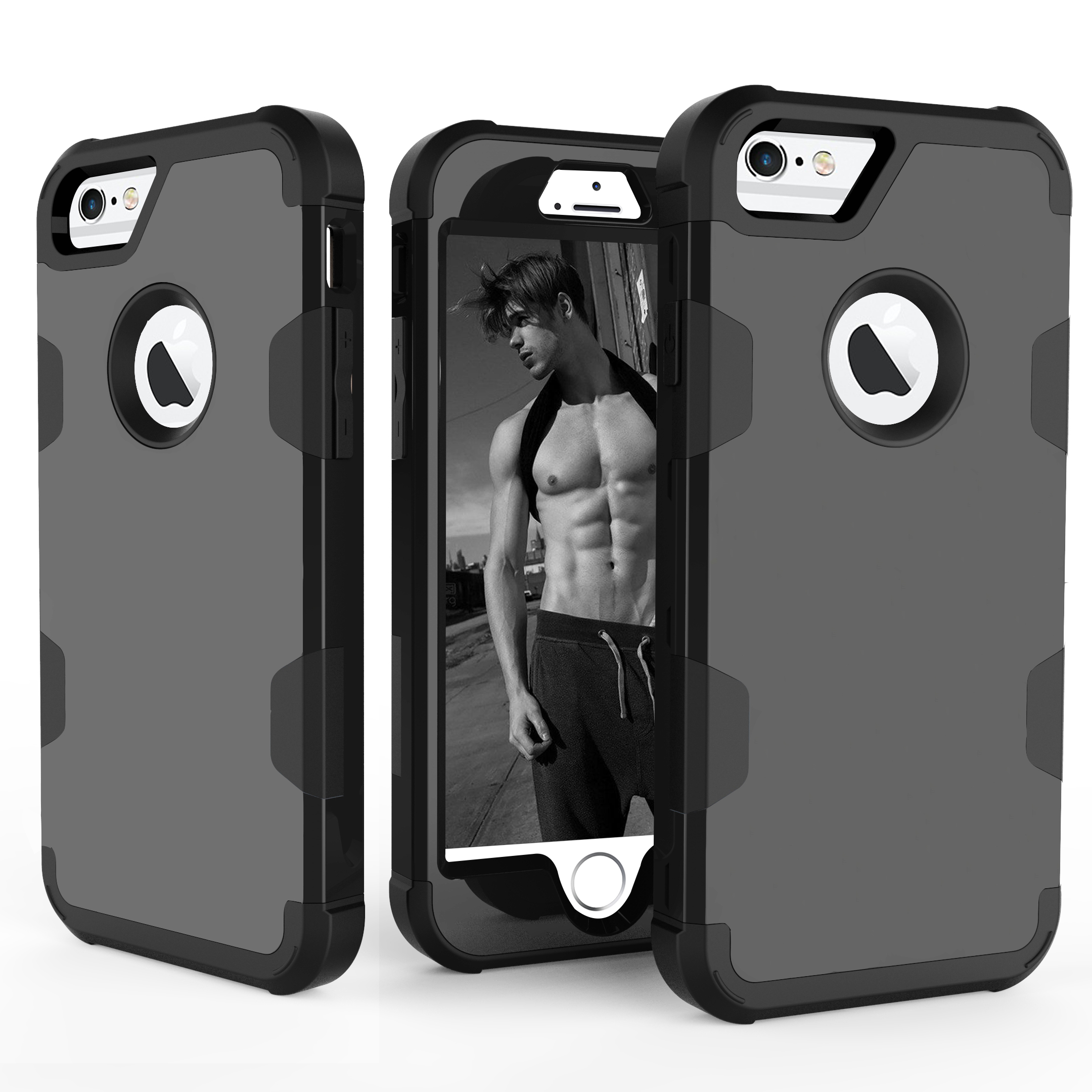 For iPhone 6/6S PC+ Silicone 2 in 1 Hit Color Tri-proof Shockproof Dustproof Anti-fall Protective Cover Back Case black