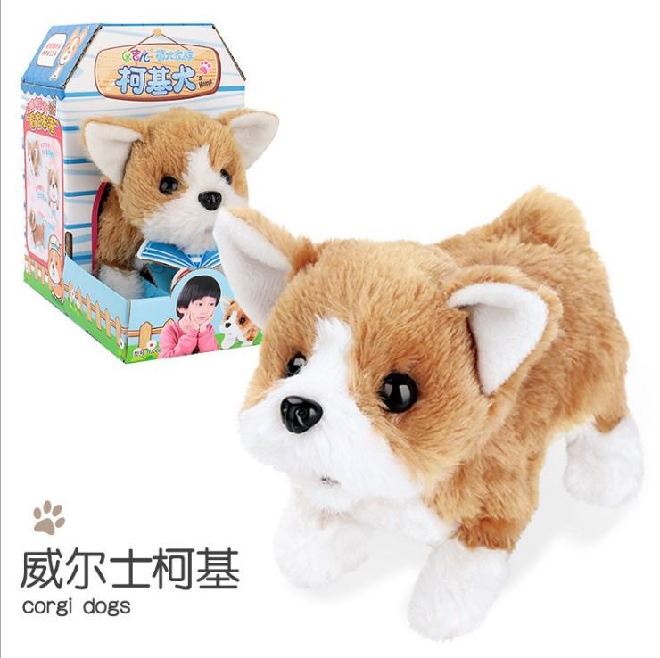 Plush  Doll  Toy  Electric Cute Simulation Dog Walking Smart Dog Animal Toy For Children Corgi