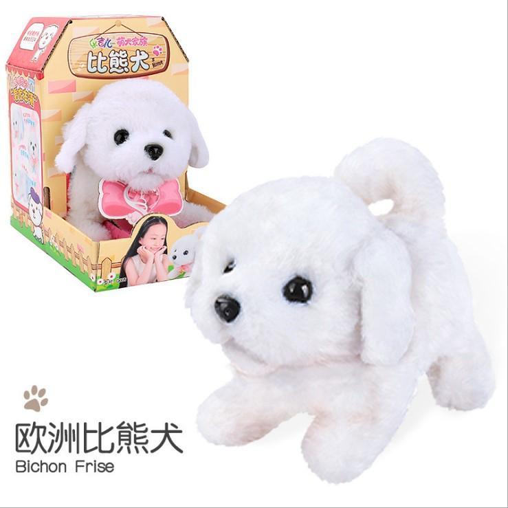 Plush  Doll  Toy  Electric Cute Simulation Dog Walking Smart Dog Animal Toy For Children Bichon Frise
