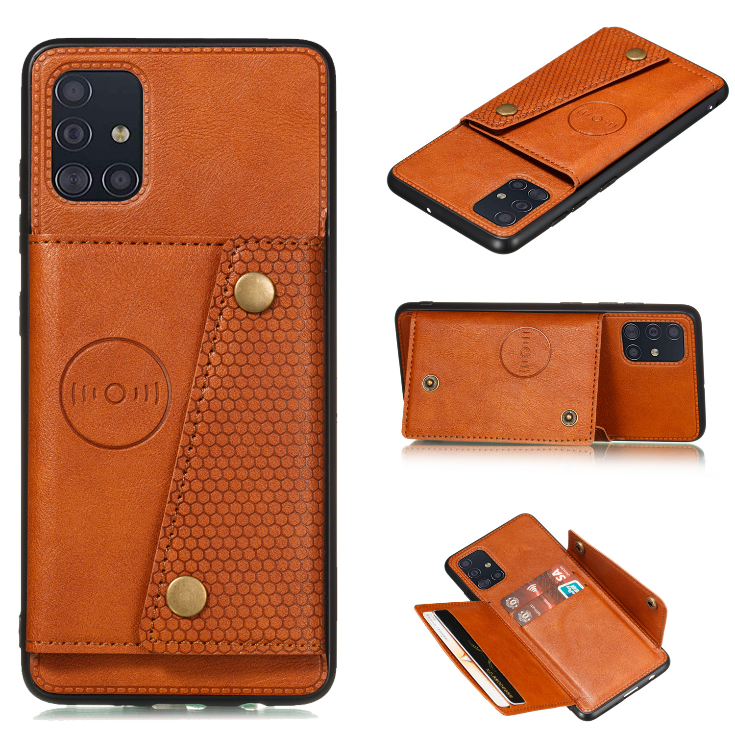 For Samsung A51 Cellphone Cover Back Case Double Buckle PU Leather with Card Slots Shell Light Brown