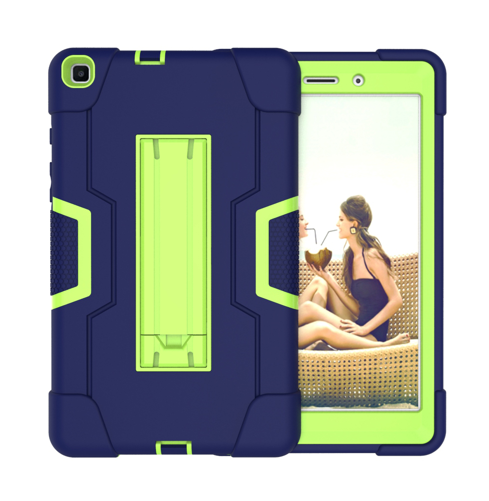For Samsung Tab A T290 T295 PC+ Silicone Hit Color Armor Case Tri-proof Shockproof Dustproof Anti-fall Protective Tablet Cover  Navy blue + yellow green