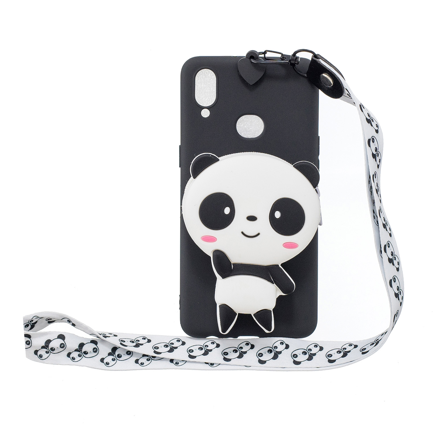 For Samsung A10S A20S TPU Full Protective Cartoon Mobile Phone Cover with Coin Purse+Hanging Lanyard 4 black pandas