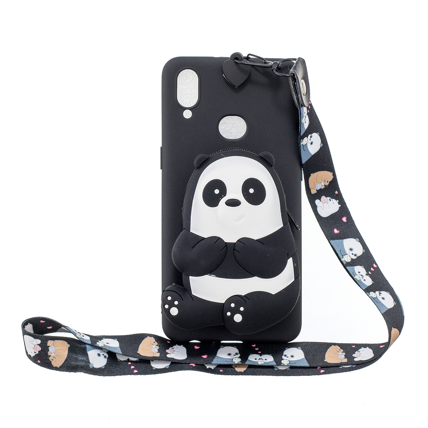 For Samsung A10S A20S TPU Full Protective Cartoon Mobile Phone Cover with Coin Purse+Hanging Lanyard 5 black striped bears
