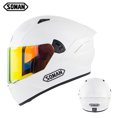 Motorcycle Helmet Anti-Fog Lens sith Fast Release Buckle and Ventilation System Wearable Ergonomic Helmet Pearl White_L