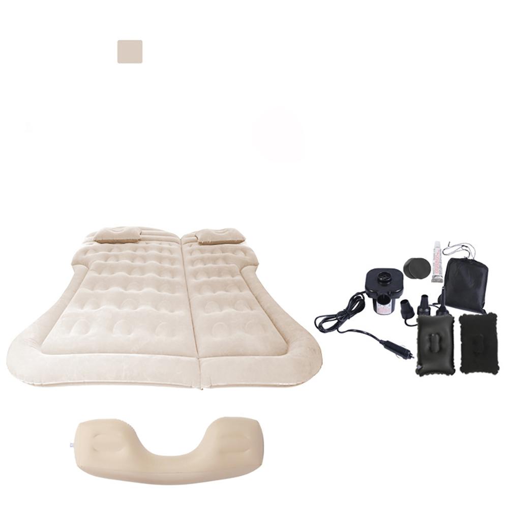 Car Inflatable Mattress Portable Inflatable Bed Air Mattress Car Inflatable Bed Air Mattress Camping Mat Beige + Foot Pier