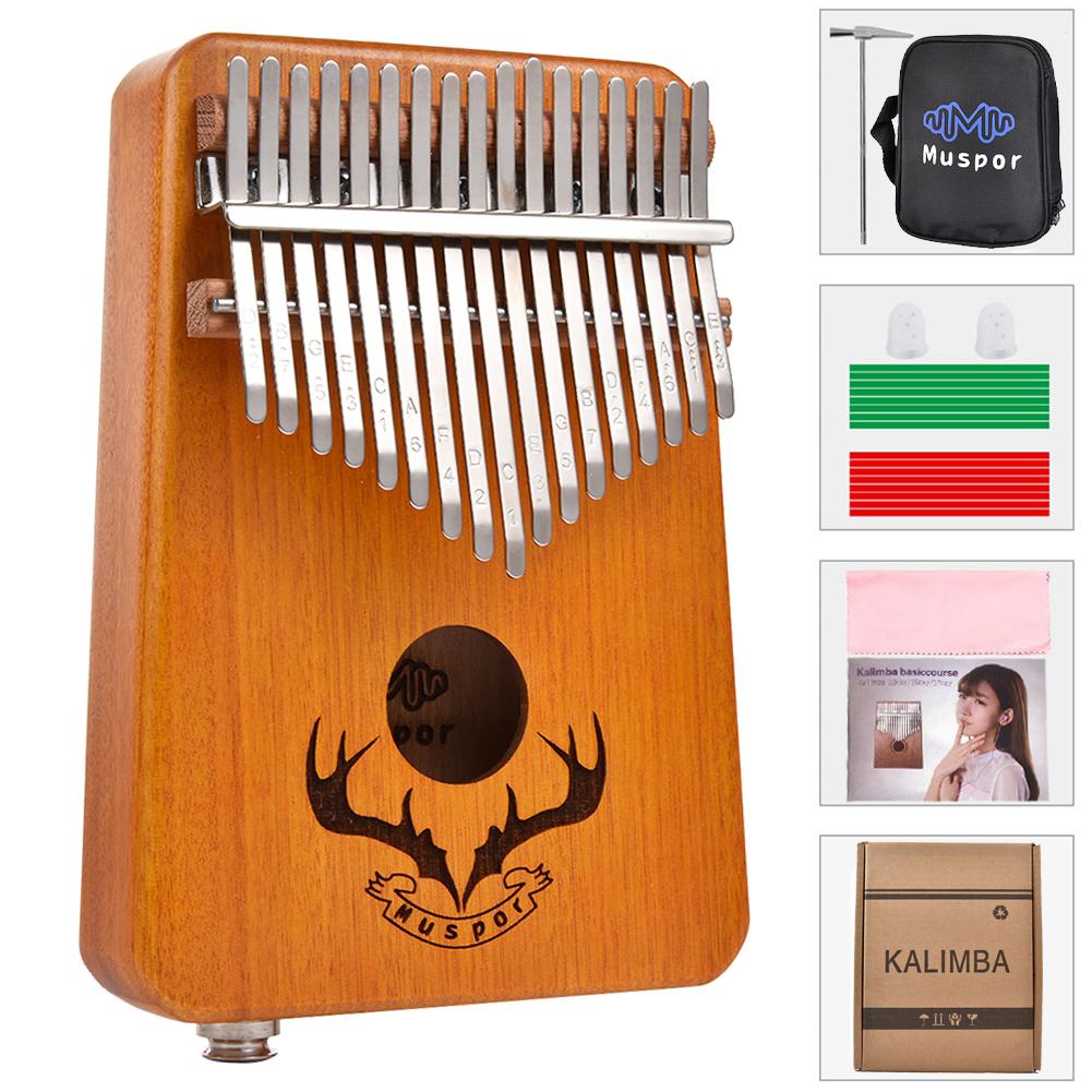 17 keys EQ kalimba Mahogany Thumb Piano Kalimba Finger Piano with Electric Pickup Tuner Hammer Beginner Music Learning yellow