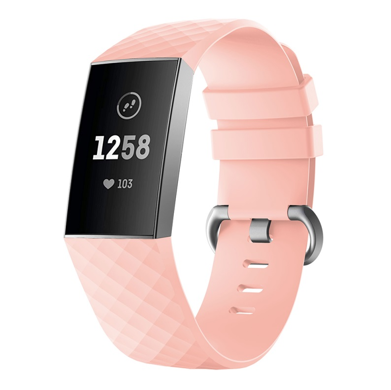 Watch Bands Compatible with Fitbit Charge 3/ Fitbit Charge 4 Waterproof Replacement Watch Strap Wristband Pink_L