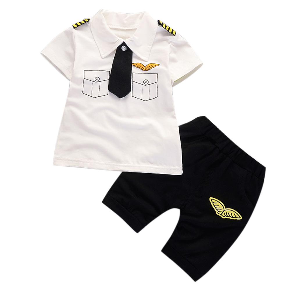 2 Pcs/Set Baby Boys Gentleman Set Tie Epaulettes T-shirt + Shorts white_90cm